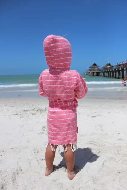 yumu kids bathrobe pink back